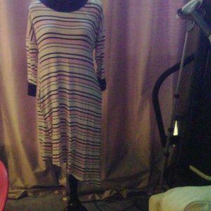 Annabelle Dresses - Annabelle NWT T Shirt Dress White w/ Pink & Blue